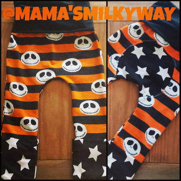 Custom Made ~ Orange and Purple Jack Skellington Halloween Maxaloones! Adorable and Fun! Grow with me leggings ~ Fit 6m to 3T!