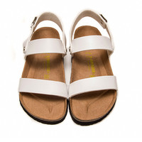 2017 Birkenstock Summer Fashion Leather Cork Flats Beach Lovers Slippers Casual Sandals For Women Men Couples Slippers color white size 36-45
