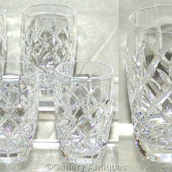 Four Vintage Webb Corbett Clifton Pattern Crystal Cut Glass Barrel Shaped Tumblers c1960's (ref: D185)