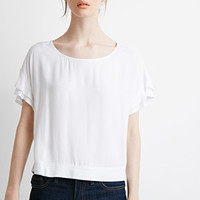Ruffled Sleeve Boxy Top