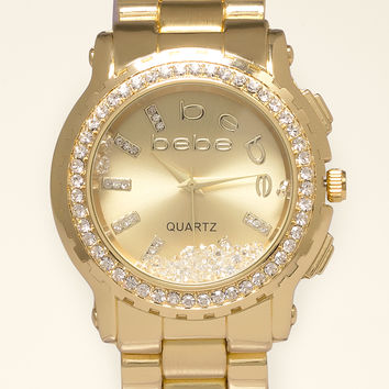 bebe Womens Floating Crystal Logo Watch