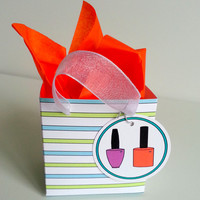 Party Favor Box and Tag Set 10 Striped Paper Party Favor Bag Birthday Bridal Shower Favor Spa Party Theme Favour Bag Custom Color Favor Bags