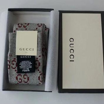 GUCCI Fashion Print Lurex interlocking G socks - Gray