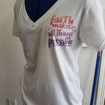 Christian - shirt - religious - Faith- Christian - sayings  - girl - ladies - t - shirt- v - neck - short - sleeve - pinup - shirt