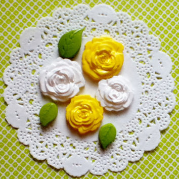 Rose Cabochons in Yellow and White, Flatbacks Scrapbook Embellishments