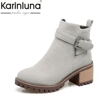 KARINLUNA 2017 Plus Size 33-43 Platform Zip Up Woman Shoes Fashion Square Heels Buckle Black Gray Ankle Boots Western Boot Women