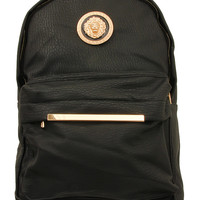 Leather Lion Backpack - One Size / Black
