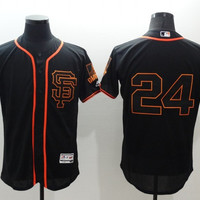 San Francisco Giants #24 Mays Majestic Black Flexbase Collection Cool Base Player Jersey Stitched MLB Baseball Jersey