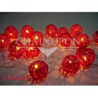 Red Rattan Wicker Balls String Lights