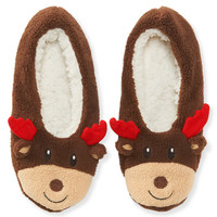 Aeropostale  Reindeer Slippers - Brown,