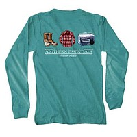 "Southern Essentials ""Mountain Weekend"" Long Sleeve Pocket Tee in Light Green by Live Oak - FINAL SALE"