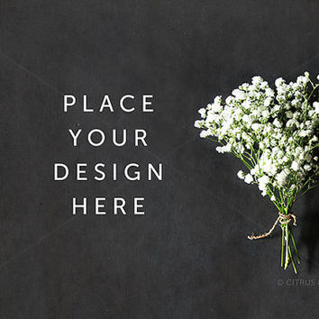 Styled Stock Photography - Product Presentation -  Baby Breath Flower Arrangement on a Clean Chalkboard Desktop Background
