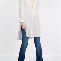 White Longline Shirt with Side Split