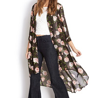 FOREVER 21 Enchanted Rose Maxi Cardigan Black/Pink Medium