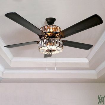 Caged Crystal Ceiling Fan by River of Goods Item: 16553S