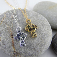 Celtic Cross necklace, cross necklace, gold celtic cross necklace, religius jewlery, gold celtic cross, baptism christmas gift