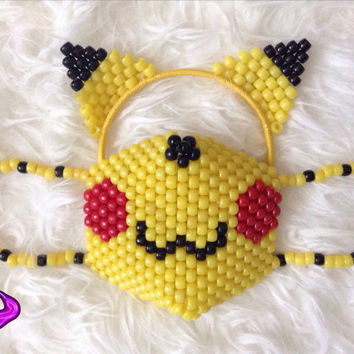 Pikachu Mask and Ears Kandi Set, Pikachu Ears, Pokemon Surgical Kandi Mask, Pokemon, Ash and Pikachu, Rave Gear, EDM Rave Wear, Custom Kandi