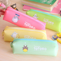 Cute Kawaii Cartoon Totoro Pencil Case Jelly Glue Japanese Anime Pen Bag for Kids Gift School Supplies 1104