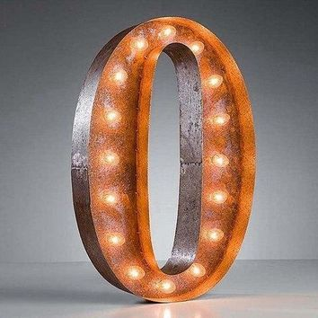 "24"" Number 0 (Zero) Sign Vintage Marquee Lights"