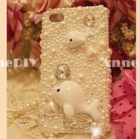 dolphins themed iPhone cover, flower iPhone 5 case, iPhone 5 cover with pearl, iPhone 4s case with Diamond Crystal, handmade iPhone 4 cases