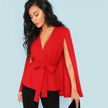 Red Elegant Office Lady Open Placket Deep V Neck Cloak Sleeve Solid Blazer Highstreet Women Coat Outerwear