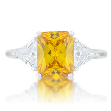 Gretchen Canary Radiant Three Stone Cocktail Ring  | 4.5ct | Cubic Zirconia | Sterling Silver