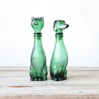 Glass Dog & Cat Decanters