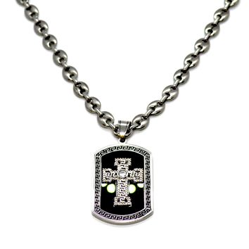 (4-2346-3180-h9) Stainless Steel Jesus Piece Puff Necklace.