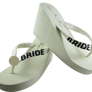 Wedge Bridal Flip Flops, Wedding Bride Flip Flops, Round Jewel Bling with Black Sparkle Bride, platform