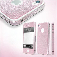 Pink Shiny Rhinestone Full Body Cover Skin Sticker Shield For IPhone4s