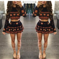 Black Floral Pleated 2-in-1 Long Sleeve Fashion Mini Dress
