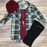 What I like about you Plaid Flannel Top: Grey/Burgundy