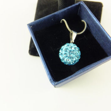 Blue Pave Ball Rhinestone Pendant Necklace Prom Wedding, Disco Ball Swarovski Crystal Silver Toned Chain