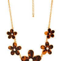 FOREVER 21 Sweet Thing Floral Necklace Brown/Gold One