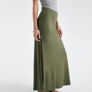 Double Side-Slit Maxi Skirt | Wet Seal