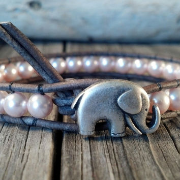 Mother's Day Bracelet, Pink Swarovski Pearl Bracelet, Good Luck Elephant, Beaded Leather Wrap, Shabby Chic, Mothers Day Gift