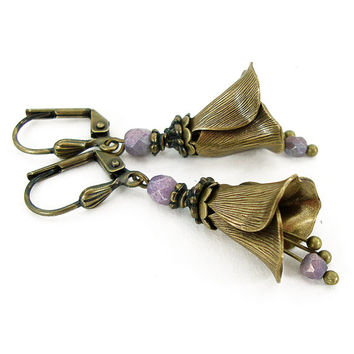 Neo Victorian Brass Flower Earrings - Bronze Jewelry - Vintage Style Lavender Purple Victorian Flower Unique Gift For Her Flower Jewelry