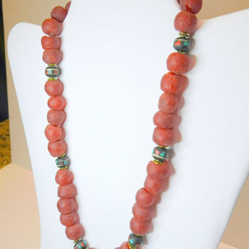 Deep red  African recycled glass trade bead necklace, with black inlaid wood  Tibetan prayer beads, ethnic jewelry, tribal jewelry, OOAK