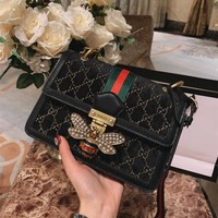 GUCCI Queen Margaret velvet small GG shoulder bag