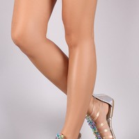Qupid Holographic Snake Embossed Rhinestone Gladiator Flat Sandals