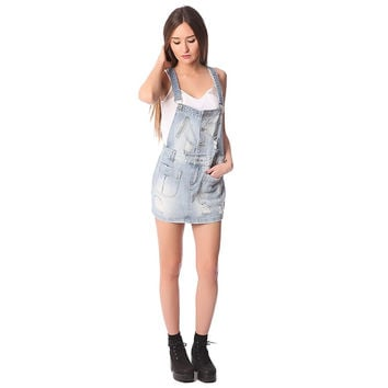 Denim mini pinafore dress with all over rips & distressing