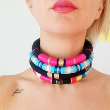 Rope Neck Rings - African choker necklace - fabric neck rings