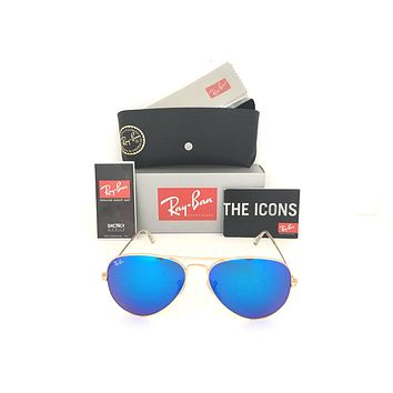 Cheap New Aviator Ray Ban RB3025 112/17 58mm Blue Flash Mirrored Lens Matte Gold Frame