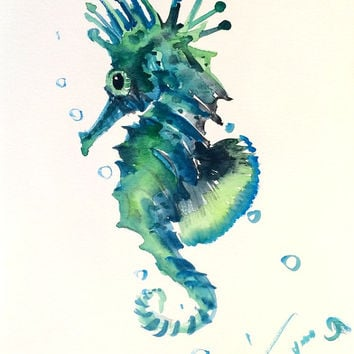 Blue Green Seahorse, Original watercolor painting, 12 X 9 in, sea world animal art, sea animals