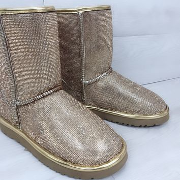 UGG pearl rhinestone warmth in the tube snow boots gold