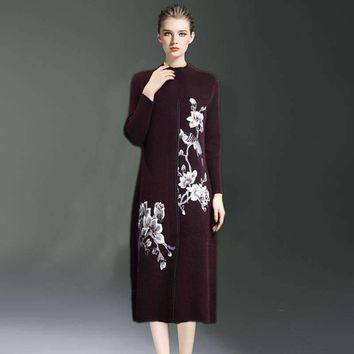Women loose Stand Collar Embroidery Flowers Mink Velvet Fox Velvet Knitted Dress