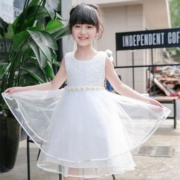 Fairy Princess Girl Dress 2017 White Beautiful Lace Little Princess Dress For Children Clothing Girl Kid Ceremonies Party Wear