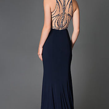 Sleeveless Beaded Cut-Out Prom Dress by Xcite