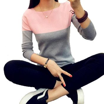 2017 christmas Knitted Sweater Women Autumn Winter Split Women Sweaters And Pullovers Female Pink Tricot Jumper Pull Femme B02