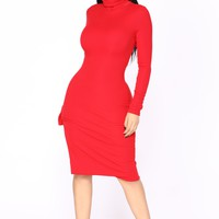 Cardiff Ribbed Dress - Red